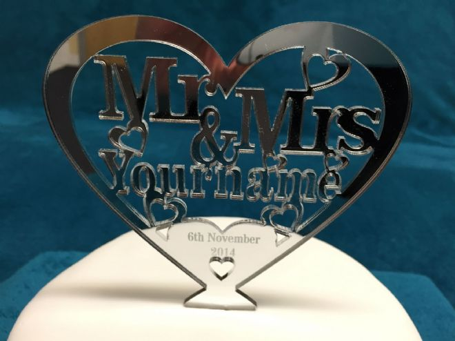 Personalised Mr & Mrs Heart Cake Topper 12.5cm x 12cm - choose from Mirror, Clear or Black